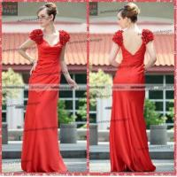 Wholesale Ah2458 Fashion Design Deep V-neck Chiffon Long Red Open Back Prom Dress from china suppliers