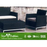 Quality Black Patio Outdoor Furniture 4PCS Rattan Sofa Set 12mm Thickness for sale