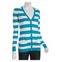 Wholesale Aqua / White Winter Striped Cardigan Womens Knitted Sweaters With V Neck from china suppliers
