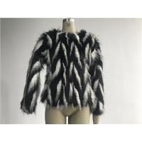 Wholesale Black / White Short Ladies Fake Fur Coats Round Neckline With 3/4 Sleeve TWS014553 from china suppliers