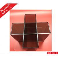 Wholesale Plexiglass Wine Bottle Stands With 5 Slots / Transparent Black Wine Display Rack from china suppliers