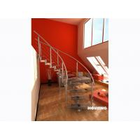 Wholesale Commercial Building Curved Staircase With Toughened Glass Steps from china suppliers