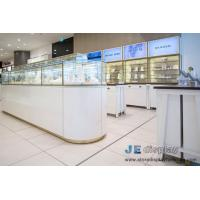Wholesale White color Millwork Jewerly Display fixture with Golden metal Showcase and Tall Wall Glass shlef Cabinets from china suppliers
