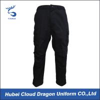 Wholesale XS - 5XL Poly Cotton Police Tactical Combat Pants Relaxed Fit Black Color from china suppliers