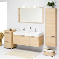 Wholesale customized modern 80 cm bamboo round floor standing Bathroom vanity base Cabinet from china suppliers