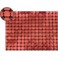 A piece of metallic fabric cloth with 8mm octagon shape and red color.