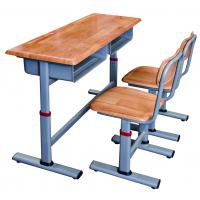 Wooden School Double Desks and Chairs