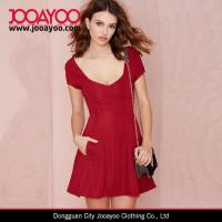 Wholesale Women Short Sleeves Textured Little Red Dress Fit And Flare Casual Dresses from china suppliers