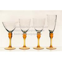 Quality engraved clear glass bowl sprayed color stem bigger style handmade for sale