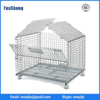 Wholesale steel cargo Basket/Wire Mesh Box/Collapsible Warehouse pallet/mobile Cages With Fork Guide from china suppliers