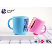 Wholesale Blue / Pink Cartoon Personalized Plastic Cups With Handles For Kids from china suppliers