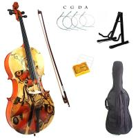 Wholesale 4/4 Yellow Red Butterfly Colored Solid Wood Student Cello,Visual Arts Cello from china suppliers