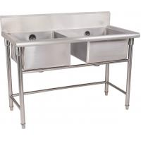 Wholesale Silver Stainless Steel Double Compartment Sink 1.2mm For Restaurant With MDF from china suppliers