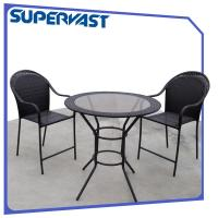 Wholesale Black High Bar Wicker Outdoor Furniture Bistro Balcony Set / Patio Bar Height Bistro Set from china suppliers