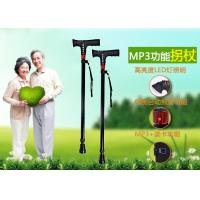 Quality wholesale walking stick with mp3,aluminium alloy walking cane with mp3, multinational telescopic crutch, for sale