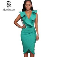 Wholesale Plain Dyed Sexy Frilly Women's Casual Dresses Elegant lady Sleeveless Deep V Dress from china suppliers