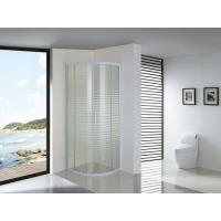 Wholesale White Parallel Line Printed Curved Shower Glass Enclosure With Screws Installation from china suppliers