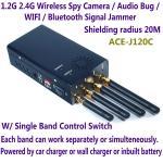 Wholesale 1.2G 2.4G Wireless Spy Camera Audio Bug WIFI Bluetooth Signal Jammer Blocker Single Switch from china suppliers