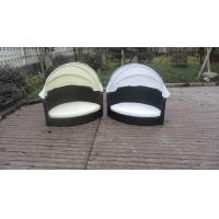 Wholesale All Weather Garden Black Wicker Pet Bed With KD White Canopy from china suppliers