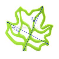 Quality High Quality Practical Creative Insulation Silicone Maple Leaf shape Green Color Table mat for sale