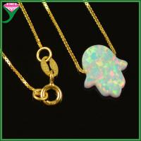 Wholesale Wholesale 925 Sterling Silver Opal hamsa Necklace , hamsa hand necklace, opal hand pendant from china suppliers