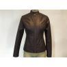 Oxblood Symmetrical Ladies PU Jacket Slim Womens Burgundy Pleather Jacket for sale