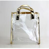 Wholesale PVC Tote Clear Plastic Bag Golden Color Package Cosmetics Fragrance from china suppliers