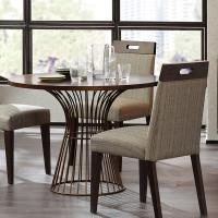 Buy cheap Gold Plated Solid Wood Round Coffee TableWith Metal Wire Frame from wholesalers