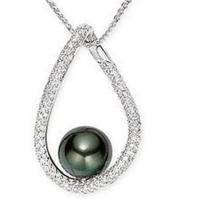 Wholesale Pendant(Diamond & 10-11mm Tahitian Cultured Pearl Pendant from china suppliers