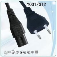 Buy cheap VDE 2 round pin copper wire Power cable with vertical plug and socket from wholesalers
