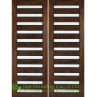 Wholesale Entrance Solid walnut wooden door, Swing Double Leaf With lacquer finished from china suppliers