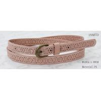 Old Brass Buckle Pink PU Ladies Stretch Belts With Punching Patterns