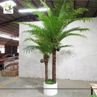 Wholesale UVG indoor bonsai artificial mini palm trees with plastic leaves for office landscaping PTR061 from china suppliers