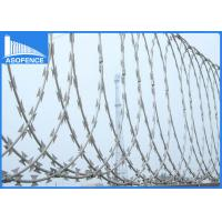 Wholesale Flat Wrap Razor Fence Wire , Razor Barbed Tape Wire With 400 - 900mm Coil Diameter from china suppliers
