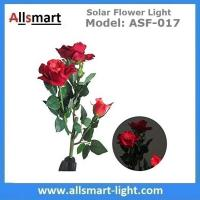 Wholesale 3LED Red Rose Flower Solar Lights Solar Powered Outdoor Waterproof Garden Lawn Balcony LED Lamps Landscape Decorative from china suppliers