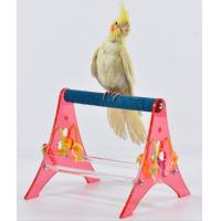 Wholesale Acrylic Portable Parrot Tabletop Stand for Budgies, Cockatiels with Hanging Bird Toys from china suppliers