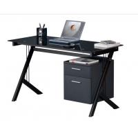 Buy cheap Transparent Black Contemporary Computer Desk With Two Wood File Drawers DX-8589 from wholesalers
