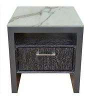 Wholesale Stone Top Night Stands Oak Wood For Hotel Bedroom , Metal Brushed Handle from china suppliers