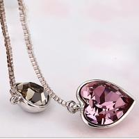 Wholesale Ref No.: 105025 Cross-Heart cherish  2 heart necklace designer jewellry bridal jewelry sets from china suppliers