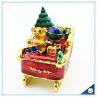 Wholesale Enamel Craft Cute Bear Trinket Box Crystal Boat Shape Jewelry Box For Festival Gifts SCJ768 from china suppliers