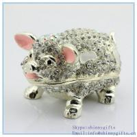 Wholesale Pig boar bejeweled shape small jewelry gift boxes for sale SCJ732 from china suppliers