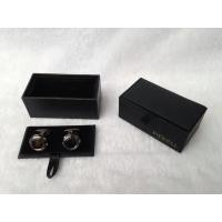 Buy cheap Black Jewelry Packaging Leather Paper Cufflink Box With Ribbon Cover from wholesalers