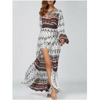 Wholesale Ethnic Print High Slit Bell Sleeve Wrap Dress Bohemian beach long woman dress from china suppliers