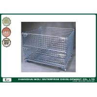 Wholesale Galvanized foldable wire stackable storage bins , warehouse storage cage from china suppliers