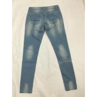 Wholesale Medium Wash Shredded High Waisted Printed Denim Jeans , Womens Bootcut Jeans from china suppliers