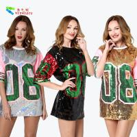 Silver Letter 08 Womens Sequin Clothing Half Sleeve Casual T - Shirt Dress