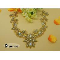 Wholesale Sew On AB Stone Gold Rhinestone Flower Applique For Ladies Garment from china suppliers