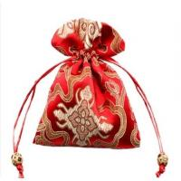 Wholesale red satin drawstring bag with embroidery from china suppliers
