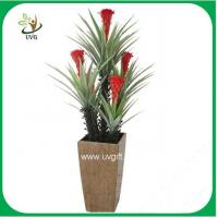 Buy cheap UVG PLT17 plant decor with red flower artificial sisal hemp bonsai for sale from wholesalers
