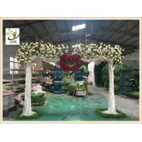 Wholesale UVG CHR139 white artificial flowering trees in silk rose branhces for party background decoration from china suppliers